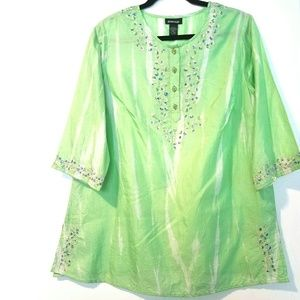 14/16 Avenue Tie Dye Embroidered Popover Top NWT